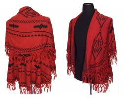 Red Black Tribal Pattern Double Layer Fringe Poncho