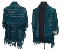 Teal Dark Tribal Pattern Double Layer Fringe Poncho