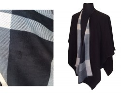 Black Solid Plaid Pattern inside Poncho