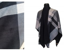 Gray Plaid Pattern inside Poncho