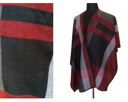 Maroon Plaid Pattern inside Poncho