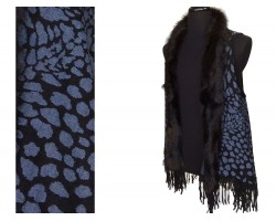 Black Leopard Print Fur Fringe Sleeveless Cardigan