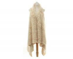 Beige Fur Sleeveless Cardigan