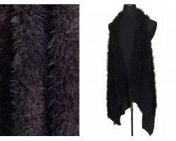 Black Fur Sleeveless Cardigan