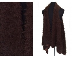 Brown Fur Sleeveless Cardigan