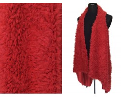 Red Fur Sleeveless Cardigan