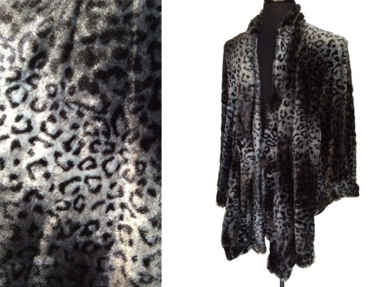 Gray Leopard Fur Shawl