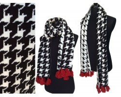 Black White Houndstooth Tassel Oblong Scarf