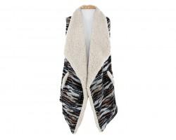 Browns Zebra Fur Sleeveless Vest