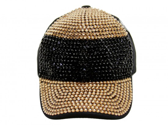 Black Gold Crystal Horiz Stripe Black Ball Cap