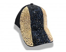 Black Gold Crystal Vertical Stripe Black Ball Cap