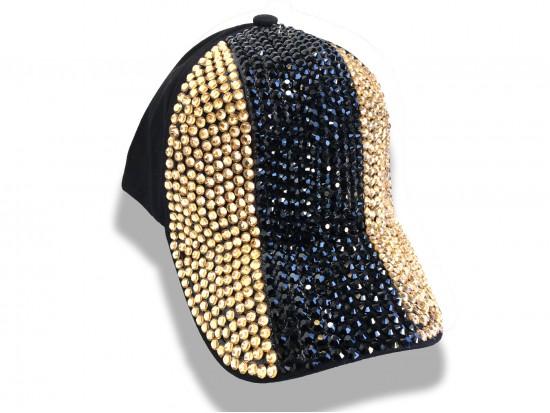 Black Gold Crystal Vertical Stripe Black Ball Cap