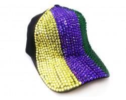 Mardi Gras Crystal Vertical Stripe Black Ball Cap