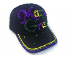 Mardi Gras Black Ball Cap