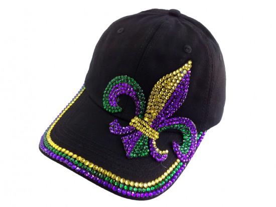 Mardi Gras Crystal Fleur De Lis Black Ball Cap