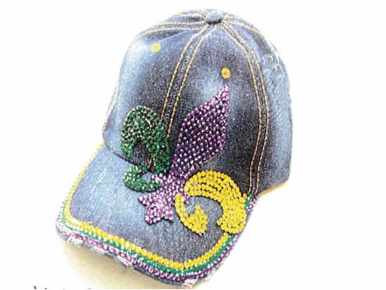 Mardi Gras Crystal Fleur De Lis Denim Ball Cap