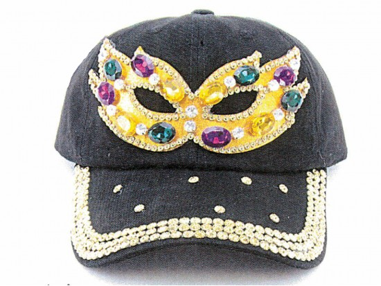 Mardi Gras Crystal Mask Black Ball Cap