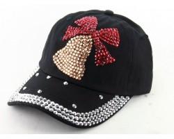 Crystal Xmas Bell Black Ball Cap