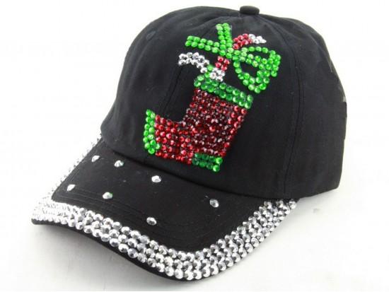 Crystal Xmas Stocking Black Ball Cap