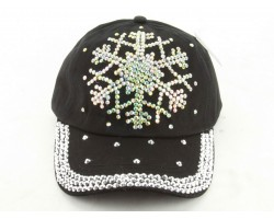 Crystal Snowflake Black Ball Cap