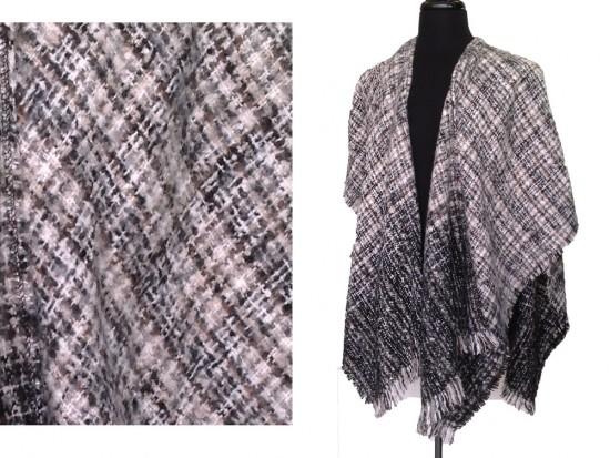 Gray Black White Soft Knit Poncho