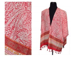 Red Floral Pattern Tassel Kimono