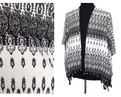 Black White Floral Pattern Tassel Kimono