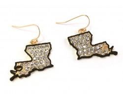 Black Louisiana Crystal Map Gold Hook Earrings