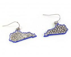 Blue Crystal Kentucky Map Silver Hook Earrings