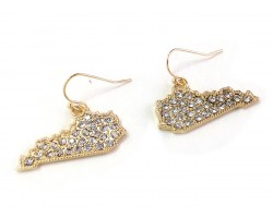 Gold Crystal Kentucky Map Hook Earrings