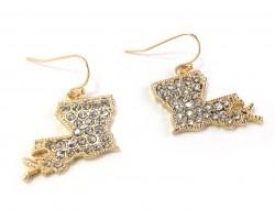 Gold Crystal Louisiana Map Hook Earrings