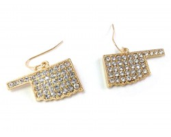 Gold Crystal Oklahoma Map Hook Earrings