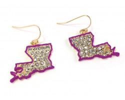 Purple Louisiana Crystal Map Gold Hook Earrings