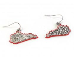 Red Crystal Kentucky Map Silver Hook Earrings