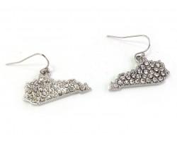 Silver Crystal Kentucky Map Hook Earrings