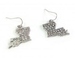 Silver Crystal Louisiana Map Hook Earrings