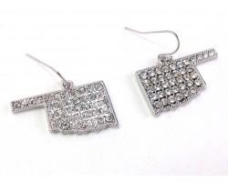 Silver Crystal Oklahoma Map Hook Earrings