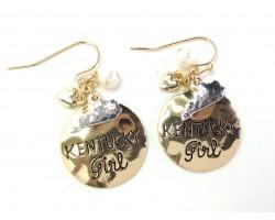 Gold Kentucky Girl Hook Earrings