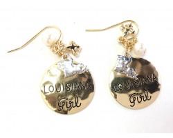 Gold Louisiana Girl Hook Earrings