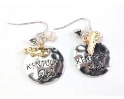 Silver Kentucky Girl Hook Earrings