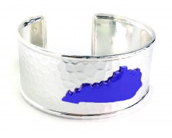 Blue Kentucky Map Silver Cuff Bangle
