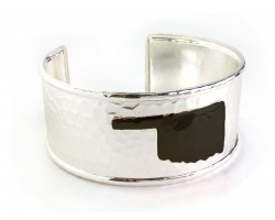 Black Oklahoma Map Silver Cuff Bangle