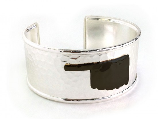Black Oklahoma Map Silver Cuff Bangle