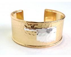 Gold Silver Oklahoma Map Cuff Bangle