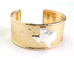 Gold Silver Texas Map Cuff Bangle