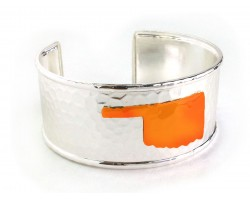 Orange Oklahoma Map Silver Cuff Bangle