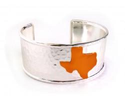 Orange Texas Map Silver Cuff Bangle