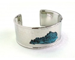 Patina Silver Kentucky Map Cuff Bangle