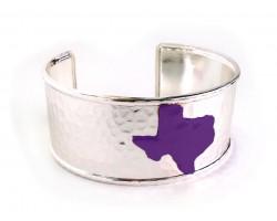 Purple Texas Map Silver Cuff Bangle