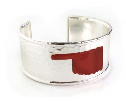 Red Oklahoma Map Silver Cuff Bangle